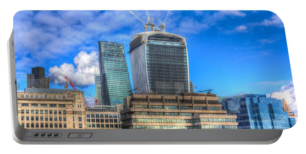 Cheese Grater Portable Battery Charger featuring the photograph City Of London by David Pyatt