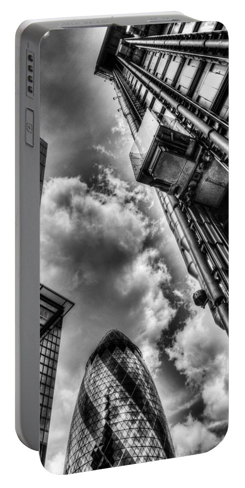 London Portable Battery Charger featuring the photograph City Of London Iconic Buildings by David Pyatt