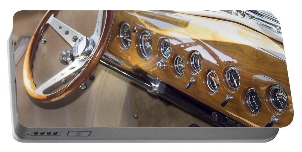 Portable Battery Charger featuring the photograph Classic Car Interior by Cathy Anderson