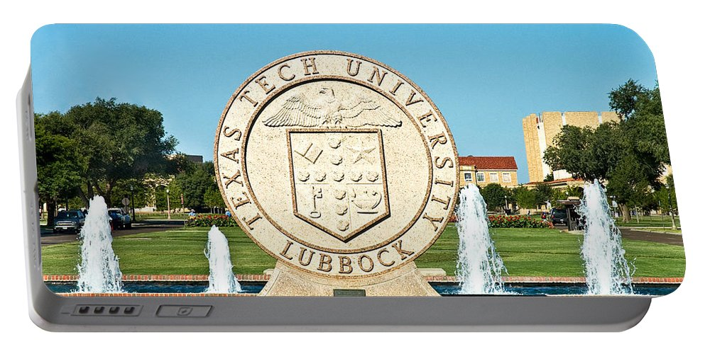 Classical Image Of The Texas Tech University Seal Portable Battery Charger featuring the photograph Classical Image Of The Texas Tech University Seal by Mae Wertz