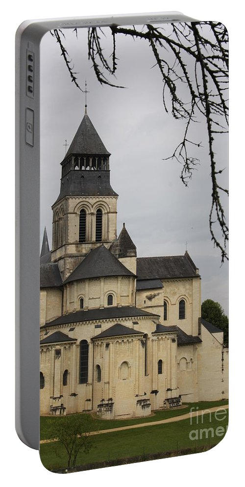 Cloister Portable Battery Charger featuring the photograph Cloister Fontevraud - France by Christiane Schulze Art And Photography