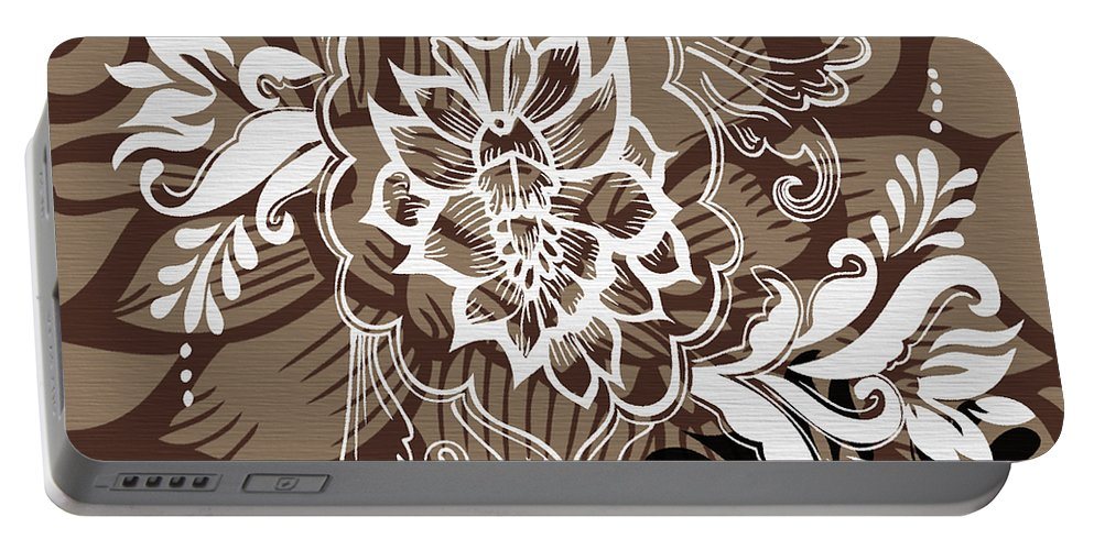 Flowers Portable Battery Charger featuring the digital art Coffee Flowers 10 by Angelina Vick