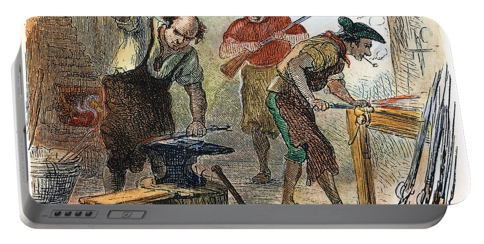 1770s Portable Battery Charger featuring the photograph Colonial Blacksmith, 1776 by Granger