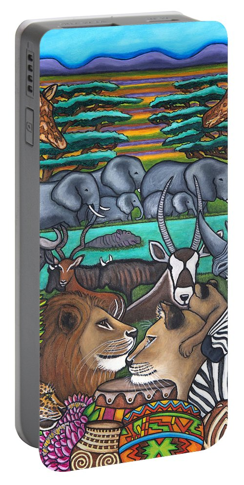 Africa Portable Battery Charger featuring the painting Colours of Africa by Lisa Lorenz
