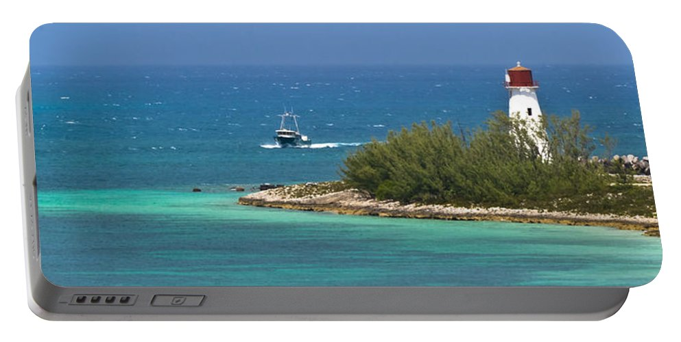 Aquamarine Portable Battery Charger featuring the photograph Coming Into The Harbor by Ed Gleichman