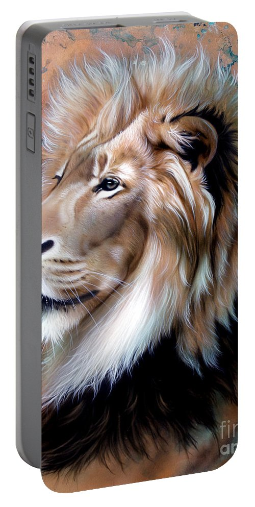 Copper Portable Battery Charger featuring the painting Copper King - Lion by Sandi Baker