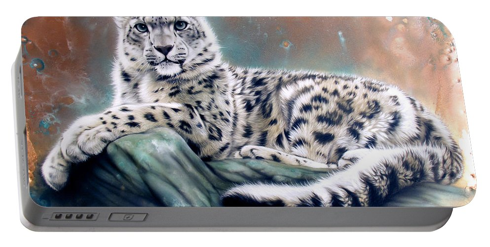 Copper Portable Battery Charger featuring the painting Copper Snow Leopard by Sandi Baker