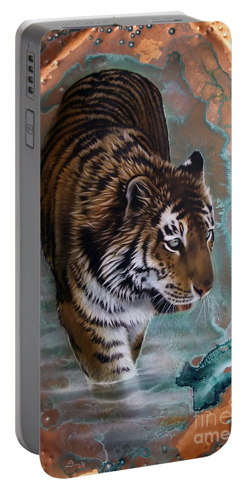 Copper Portable Battery Charger featuring the painting Copper Tiger I by Sandi Baker