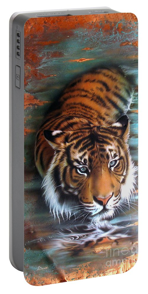 Copper Portable Battery Charger featuring the painting Copper Tiger II by Sandi Baker