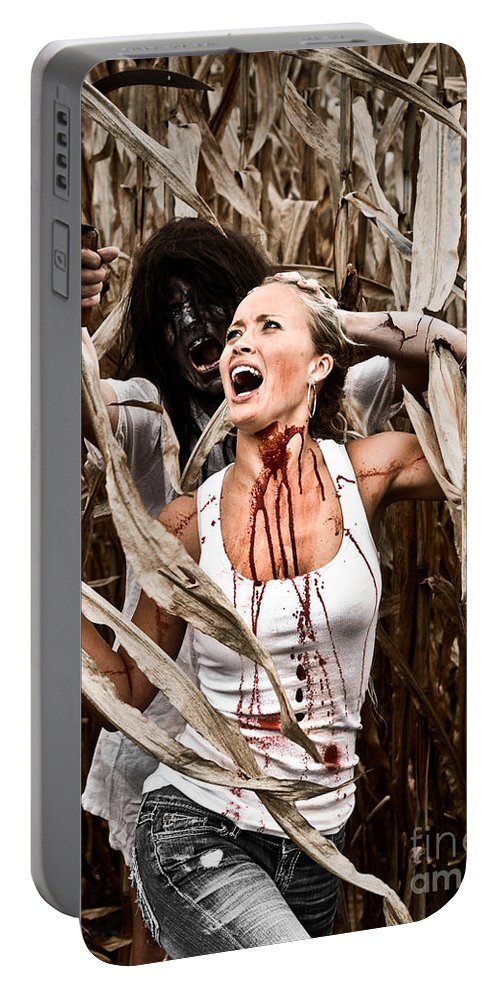 Cut Portable Battery Charger featuring the photograph Corn Field Horror by Jt PhotoDesign
