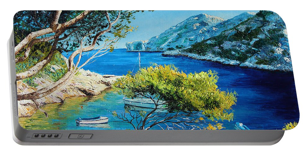 Jean-marc Janiaczyk Portable Battery Charger featuring the painting Cove Of Morgiou by Jean-Marc Janiaczyk