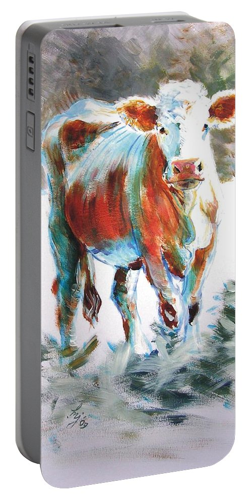 Ruby Red Portable Battery Charger featuring the painting Cow by Mike Jory