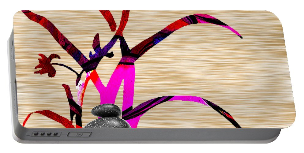 Zen Paintings Portable Battery Charger featuring the mixed media Creating Balance by Marvin Blaine