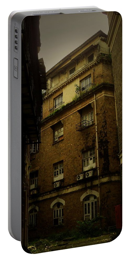 Wallpaper Buy Art Print Phone Case T-shirt Beautiful Duvet Case Pillow Tote Bags Shower Curtain Greeting Cards Mobile Phone Apple Android Urban Old Alley Cityscape Mumbai Bombay Classic Vintage Nostalgic Photograph Dark Gothic Salman Ravish Khan Portable Battery Charger featuring the photograph Crime Alley by Salman Ravish