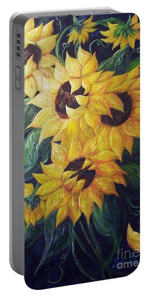 Sunflower Portable Battery Charger featuring the painting Dancing Sunflowers by Eloise Schneider Mote