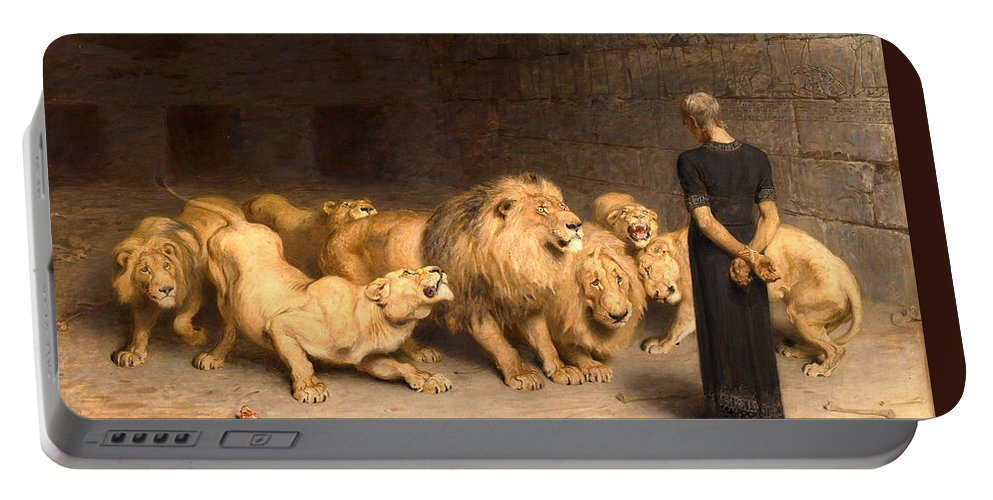 Daniel In The Lions Den Portable Battery Charger featuring the painting Daniel In The Lions Den by Briton Riviere