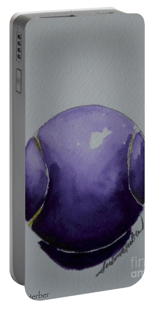 Tennis Ball Portable Battery Charger featuring the painting Deep Violet by Susan Herber