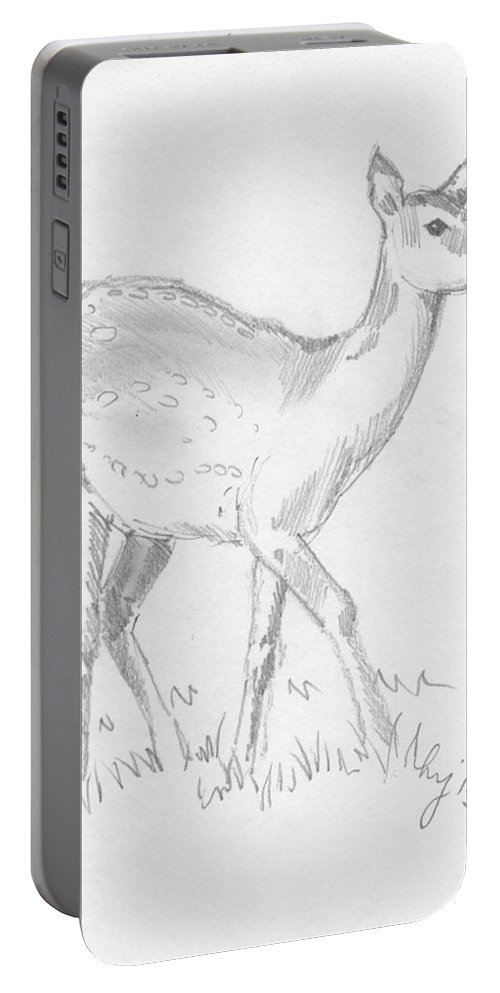 Deer Portable Battery Charger featuring the drawing Deer by Mike Jory