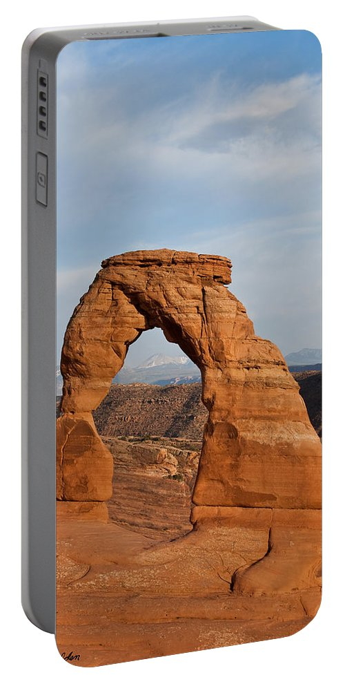 Arch Portable Battery Charger featuring the photograph Delicate Arch At Sunset by Jeff Goulden