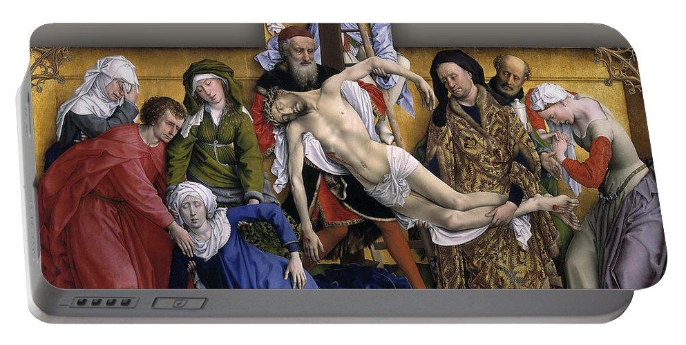 Rogier Van Der Weyden Portable Battery Charger featuring the painting Descent From The Cross by Rogier van der Weyden