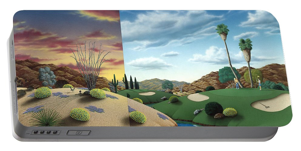 Desert Portable Battery Charger featuring the painting Desert Golf by Snake Jagger