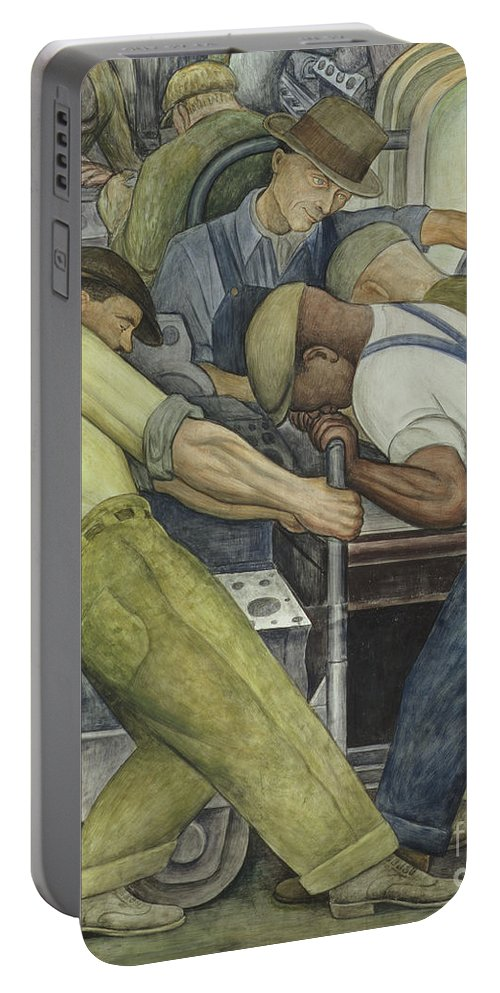 Fresco Portable Battery Charger featuring the painting Detroit Industry North Wall by Diego Rivera