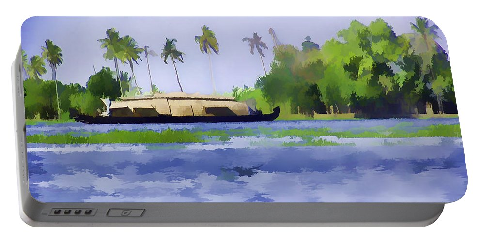 Backwater Portable Battery Charger featuring the digital art Digital Oil Painting - A Houseboat On Its Quiet Sojourn Through The Backwaters Of Allep by Ashish Agarwal