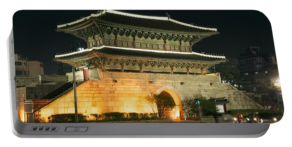 Ancient Portable Battery Charger featuring the photograph Dongdaemun Gate Landmark In Seoul South Korea by Jacek Malipan