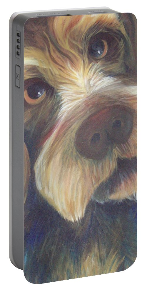 Drahthaar Portable Battery Charger featuring the painting Drahthaar Amadeus by Catt Kyriacou
