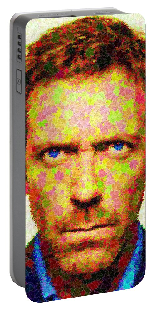 Dr. Portable Battery Charger featuring the painting Dr. House - Maple Leaves by Samuel Majcen