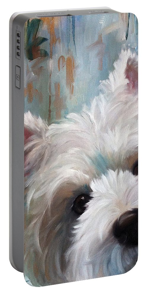 Westie Portable Battery Charger featuring the painting Drip 1 by Mary Sparrow