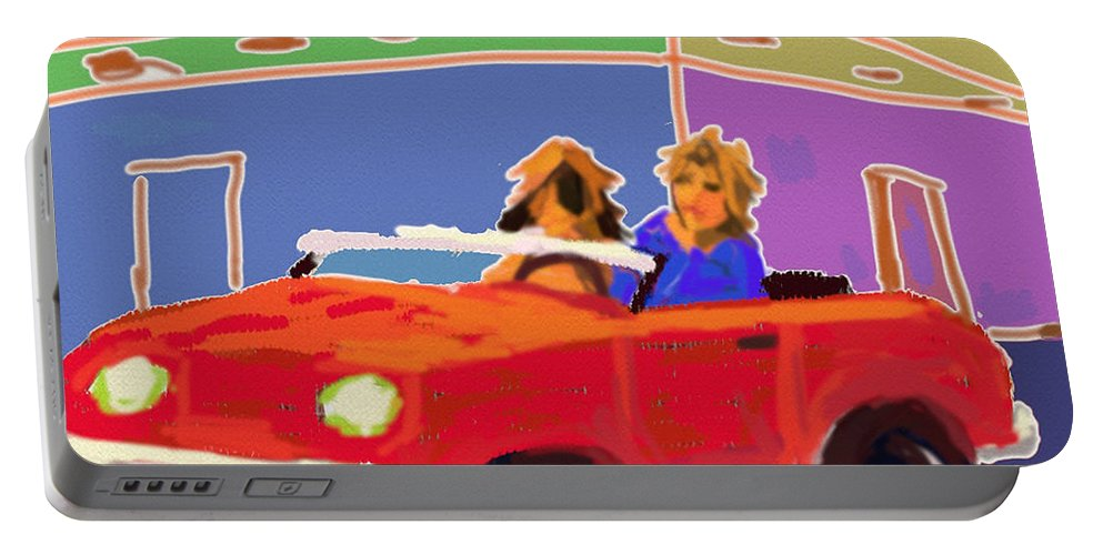 Ipad Finger Painting Portable Battery Charger featuring the painting Driving Miss Daisy by Terry Chacon