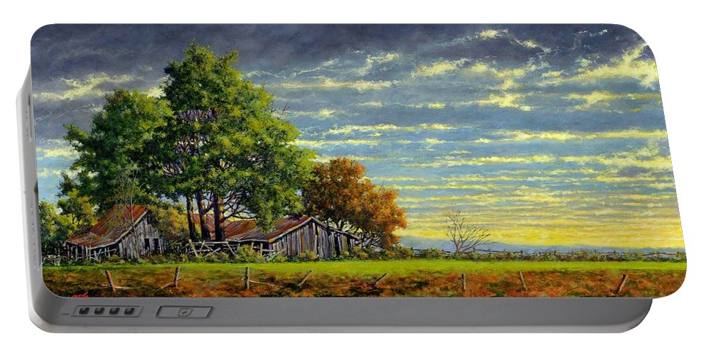 Landscape Portable Battery Charger featuring the painting Dusk by Jim Gola