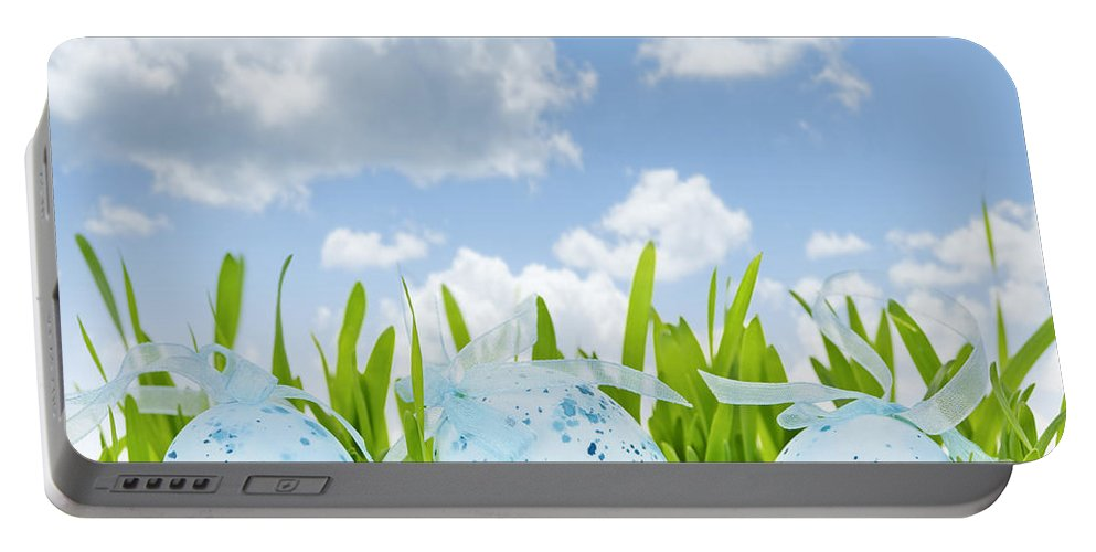 Easter Portable Battery Charger featuring the photograph Easter Eggs In Green Grass by Elena Elisseeva