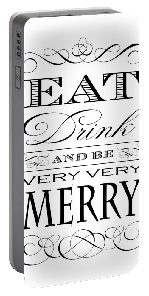 Kitchen Portable Battery Charger featuring the digital art Eat Drink And Be Merry by Antique Images