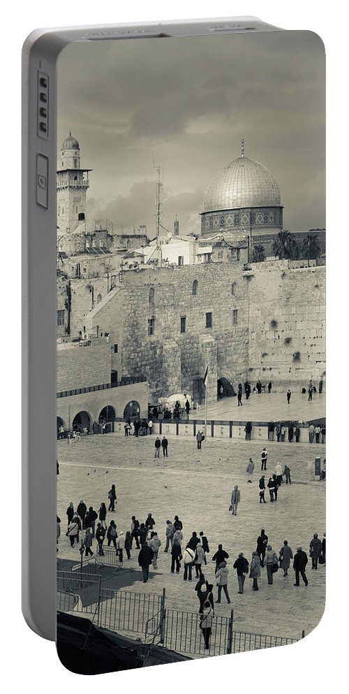 Photography Portable Battery Charger featuring the photograph Elevated View Of The Western Wall by Panoramic Images