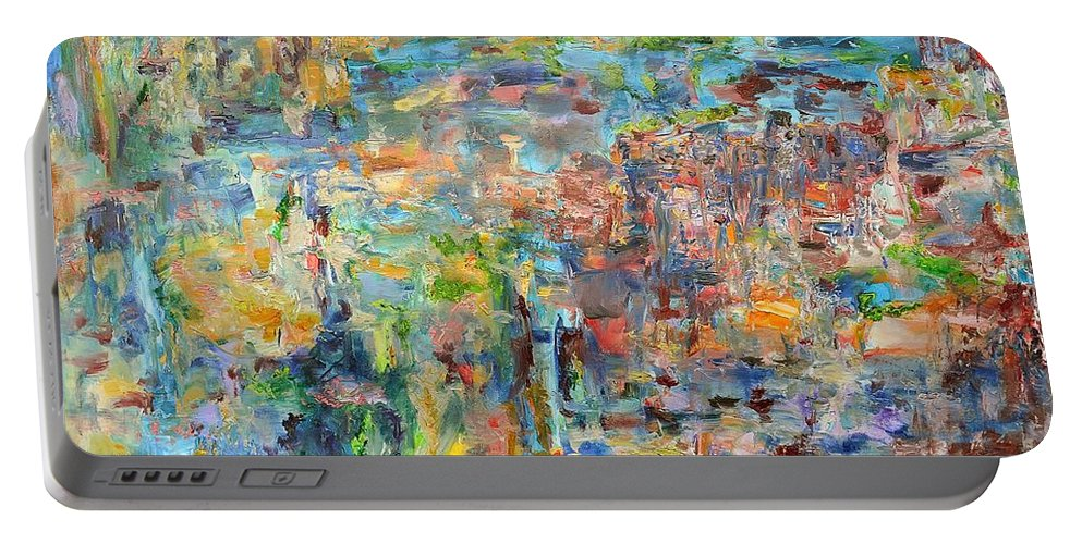 Abstract Realist Portable Battery Charger featuring the painting Escarpment by Regina Valluzzi