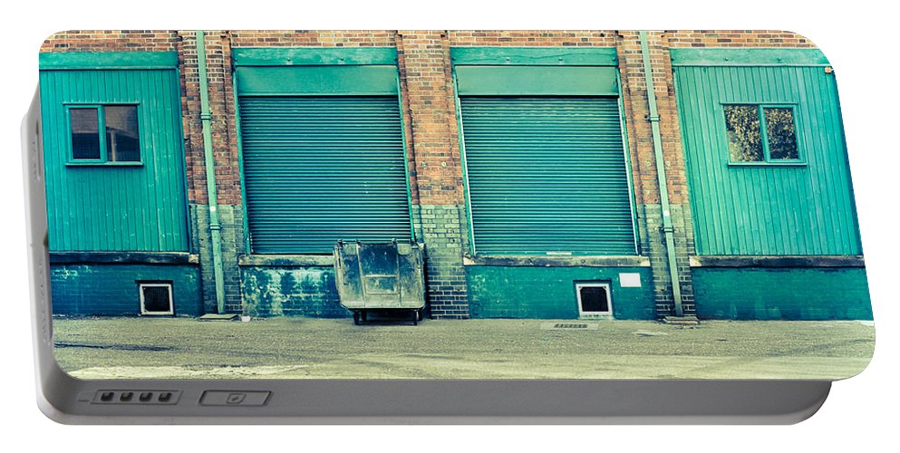 Abandoned Portable Battery Charger featuring the photograph Factory Doors by Tom Gowanlock