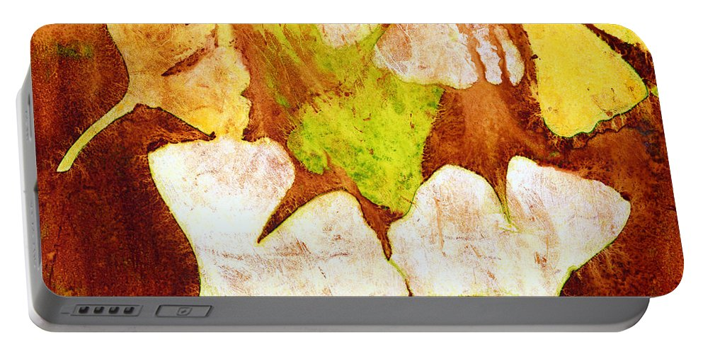 Ginko Portable Battery Charger featuring the painting Falling Leaves by Hailey E Herrera