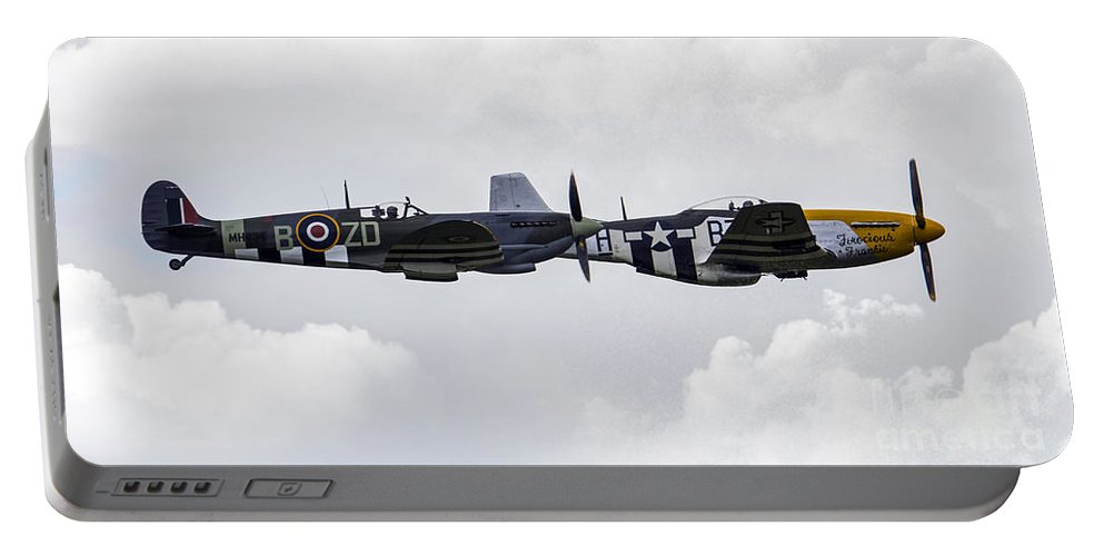 Supermarine Spitfire Portable Battery Charger featuring the photograph Fighter Pass by J Biggadike