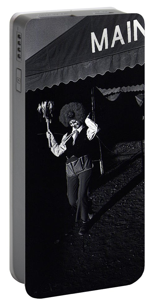 Film Homage Charlie Chaplin The Circus 1928 Clown Strong Circus Bisbee Arizona 1980 Portable Battery Charger featuring the photograph Film Homage Charlie Chaplin The Circus 1928 Clown Strong Circus Bisbee Arizona 1980 by David Lee Guss