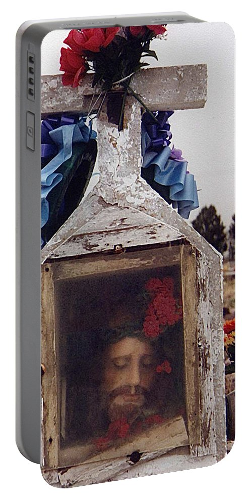 Film Homage John Wayne The Greatest Story Ever Told 1965 Cemetery Tubac Arizona 2000 Portable Battery Charger featuring the photograph Film Homage John Wayne The Greatest Story Ever Told 1965 Cemetery Tubac Arizona 2000 by David Lee Guss