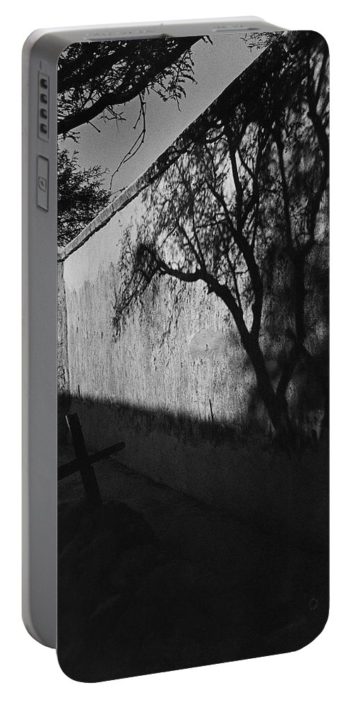 Film Noir Kim Novak Vertigo 1958 Graveyard Tumacacori Mission Tumacacori Arizona 1979 Portable Battery Charger featuring the photograph Film Noir Kim Novak Vertigo 1958 Graveyard Tumacacori Mission Tumacacori Arizona 1979-2008 by David Lee Guss