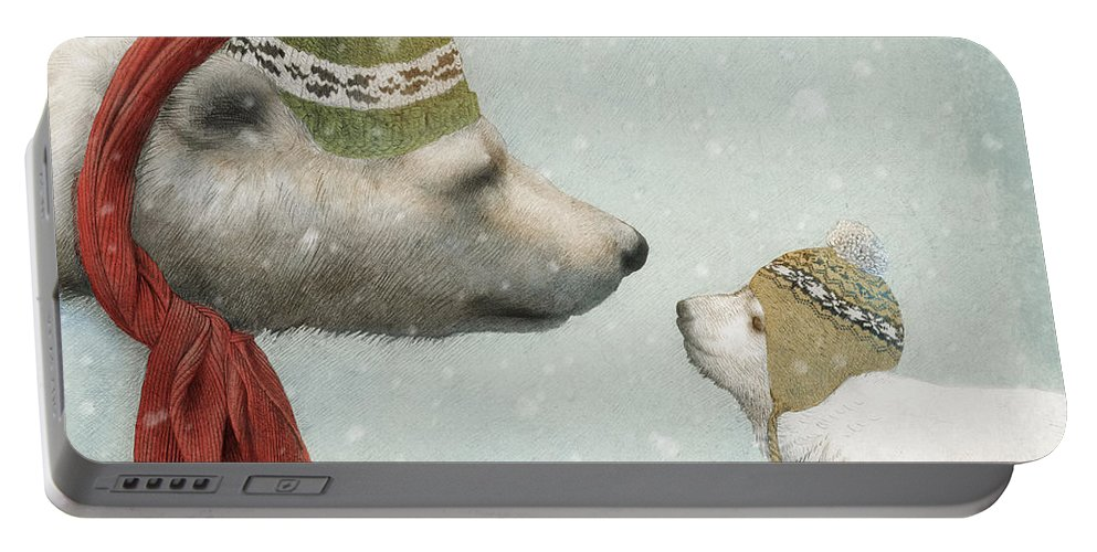 Polar Bear Portable Battery Charger featuring the drawing First Winter by Eric Fan