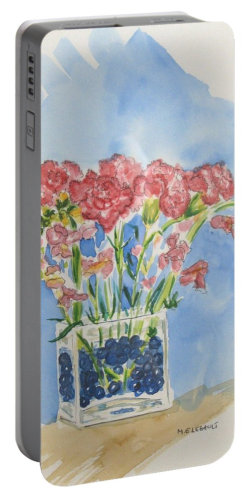 Flowers Portable Battery Charger featuring the painting Flowers In A Vase by Mary Ellen Mueller Legault