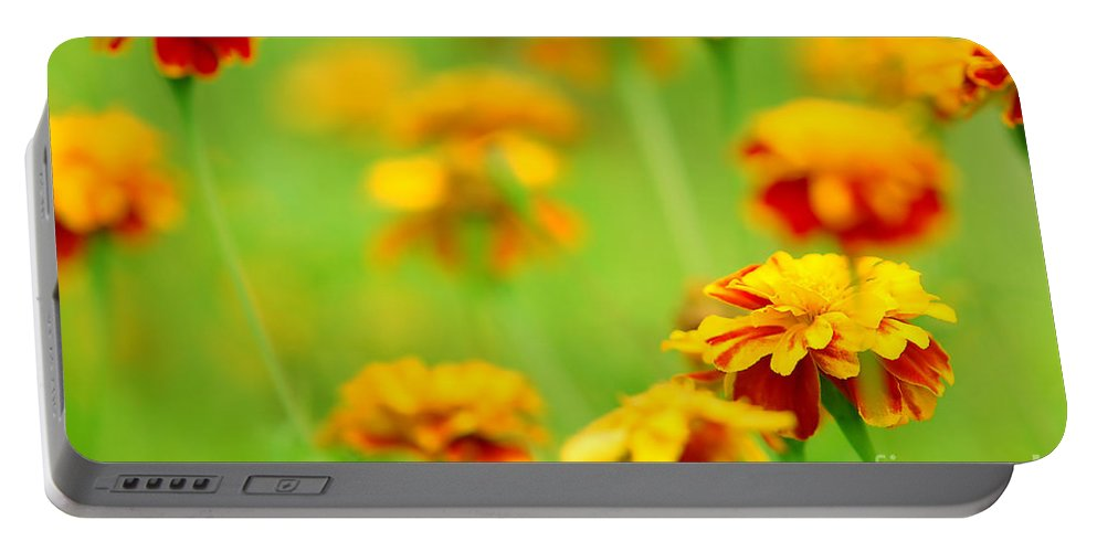 Green Portable Battery Charger featuring the photograph Flowers by Michal Bednarek