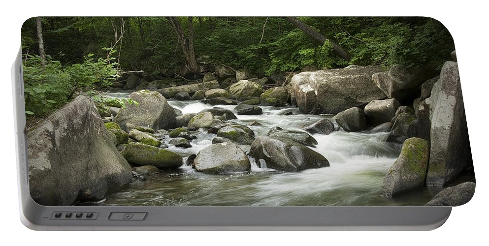 Art Portable Battery Charger featuring the photograph Flowing Stream In Vermont by Randall Nyhof