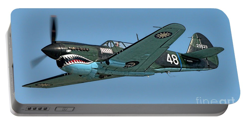 Curtis P-40 Warhawk Portable Battery Charger featuring the photograph Flying Tiger by Tommy Anderson