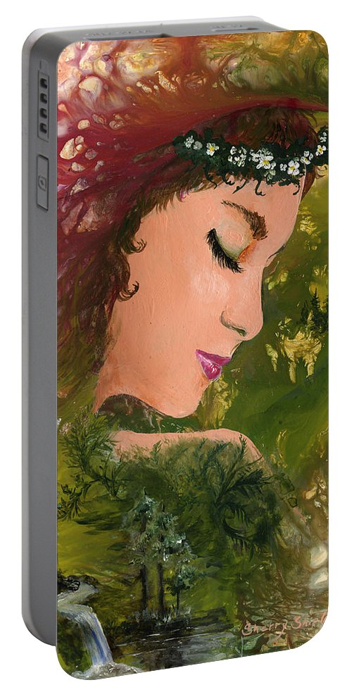 Girl Portable Battery Charger featuring the painting Forest Girl by Sherry Shipley