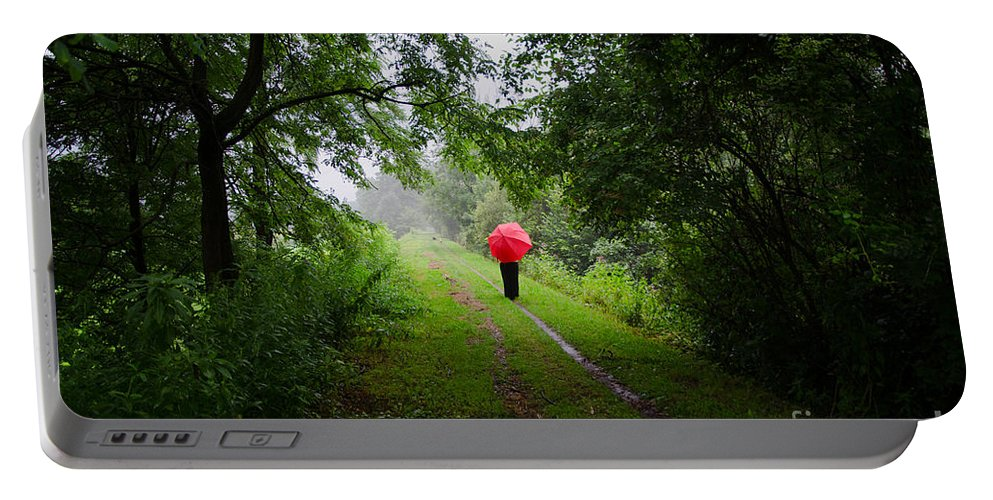 Road Portable Battery Charger featuring the photograph Forest Road by Mats Silvan